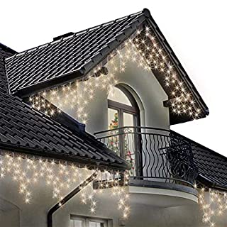 Icicle Lights 320 LED 11m Warm White Outdoor Christmas Lights Indoor String Fairy Lights Timer Memory Mains Powered 36ft Lit Length String Lights 10m/32ft Lead Wire Clear Cable