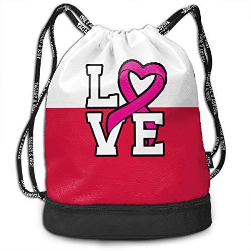 Liebe Pink Ribbon Breast Cancer Awareness Rucksack für Herren und Damen, 100% Polyester Durable Gym Bag