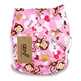 iZiv(TM) Neugeborene Organisch mit 1 Dick Insert wasserdichte Säuglings/Einstellbare/Fachverwendbare/Waschbare Tuch Windeln für Babys 0-3 Jahre(Affe)