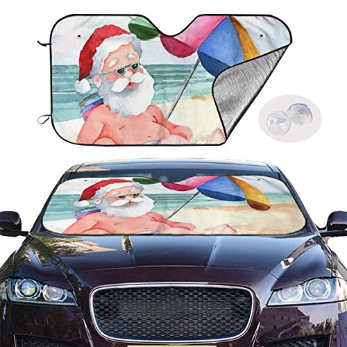 Auto Sonnenschutz Frontscheibe Windschutzscheibe,Car Windshield Sun Shade SUV Trucks Vehicle Minivan UV Ray Heat Reflector Visor Protector Front Window Sunshade,Santa Claus Beach -