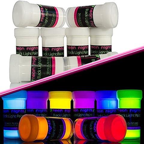 neon nights 8 x Invisible Peinture UV Fluorescente Colorée Pour Lumière Noire