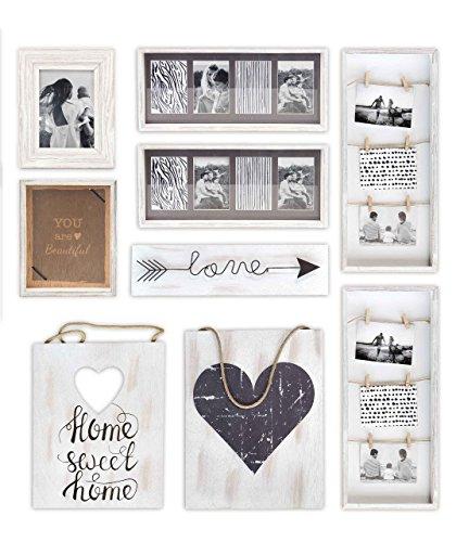Gallery Solutions Bilderrahmen Collage und Wand Dekoration Set 9 Stück, Weiß - Wand Bilderrahmen Collage