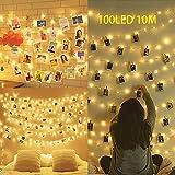 Clip Cadena de Luces LED,100LEDs 10M Luces LED para Clip de Foto,Alimentado por Batería Foto clips...
