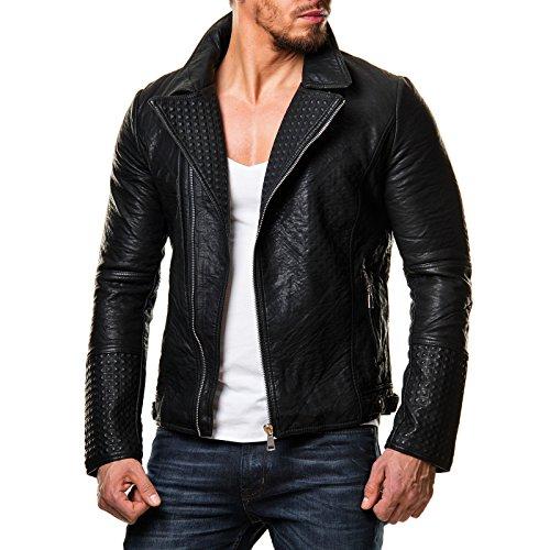 Prestige Homme Herren Jacke Kunstleder Biker Style Zipper Gesteppt Schwarz PR-22, Größe:S;Farbe:Schwarz