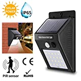 FireTech IP65 Water Resistant Solar Motion Sensor Security Wall Light with 20 LED's