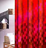 DUSCHVORHANG Ravenna rot Textil 180cm breit x 200cm lang shower curtain ohne Ringe