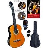 Clifton 4/4 Konzert-Gitarre, Set mit Buch, CD, DVD, Stimmgerät, laminierte Fichtendecke, Plectren, gepolsterte Tasche