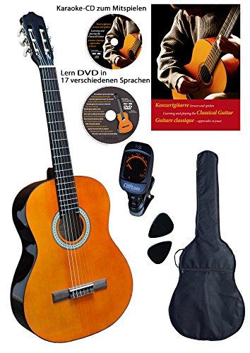 Clifton 4/4 Konzert-Gitarre Set mit Buch, CD, DVD, Stimmgerät, Plectren, gepolsterte Tasche