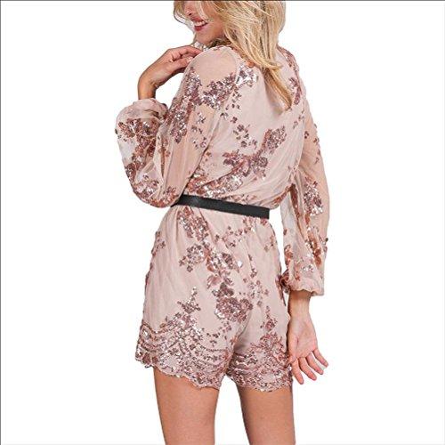 Robe de paillettes sexy V-cou dames de soirée robe de nuit robe gold