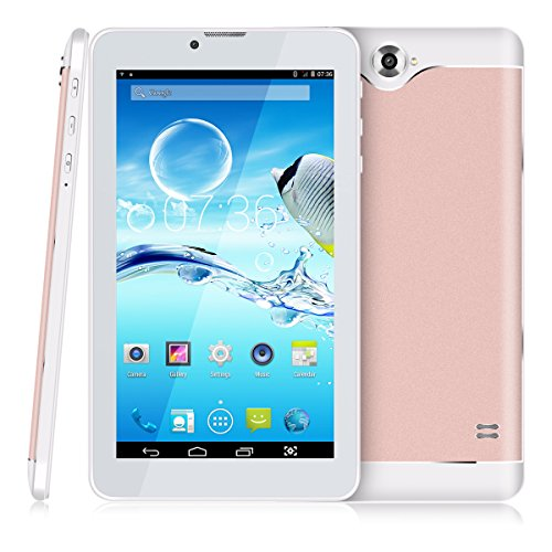 7 Zoll 3G Tablet PC,512 RAM+8G ROM,Dual-SIM,IPS HD Display 1024x600,Quad Core CPU,Android 4.4.2,WIFI WLAN Bluetooth,4 Farben zur Wahl Rosegold von QIMAOO (Gsm 7-zoll-tablet-telefon)