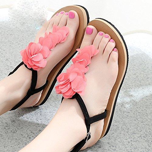 Donne sandali Pendenza con i sandali Sandali piatti sdrucciolevoli femminili Scarpe studentesche Scarpe casual per 18-40 anni Confortevole ( Colore : 1002 , dimensioni : 37 ) 1001