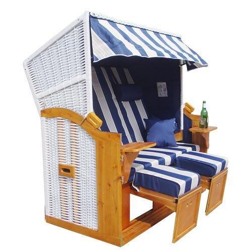 Homelux Strandkorb Deluxe Polyrattan Sylt Ostsee Volllieger inkl. 4x Kissen XXL160cm Blau-Bunt gestreift - 3