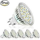 LED Lampen GU5.3 MR16 Bulbs 5W 12V,400lm,LED-Reflektorlampe,ersetzt 35W Halogenlampen,Warmweiß, LED Deckenstrahler Einbaustrahler Deckeneinbaustrahler Einbauspot 6er Pack