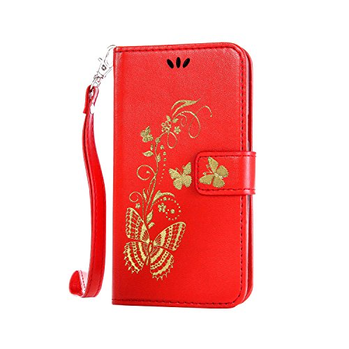 Preisvergleich Produktbild Anlike Samsung Galaxy S5 mini (4,5 Zoll) Hülle, Schutzhülle für Samsung Galaxy S5 mini (4,5 Zoll) Wallet Tasche [Butterfly geprägte Serie Bronzing] Handyhülle - Rot