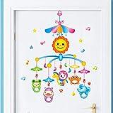 Kyzaa Cartoon Baby Bett Glocken Wandaufkleber Pvc Material Wandbild Kunst Für Familie Kinder Schlafzimmer Dekoration Glas Fenster Aufkleber