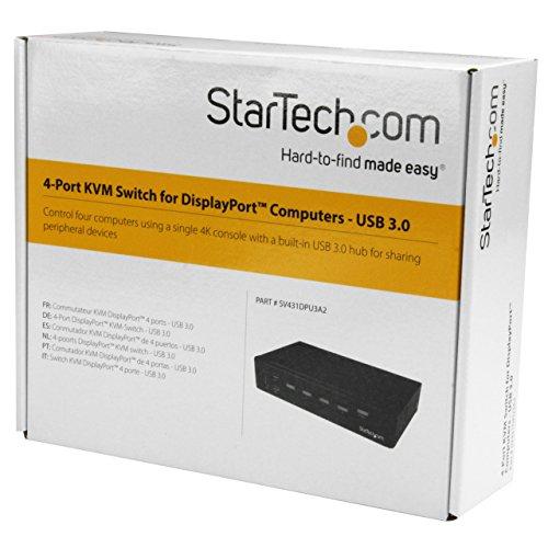 StarTech.com 4 Port DisplayPort KVM Switch - DP KVM Umschalter mit USB 3.0 Hub - 4K 30Hz
