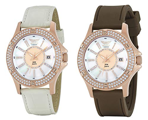 Aviator Damen Dual Strap Quarz Rose Gold Dial Armbanduhr AVX4536L15 - Damen Aviator Watch