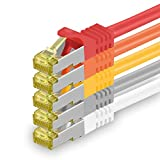 1aTTack.de Cat.7 Netzwerkkabel 0,5m - 5-Farben 01-5 Stück - Cat7 Ethernetkabel Netzwerk Lan Kabel Rohkabel 10 Gb/s (Sftp Pimf) Set Patchkabel mit Rj 45 Stecker Cat.6a