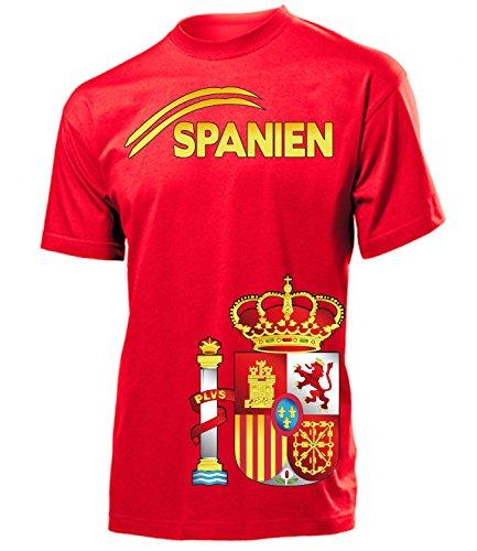 Spanien Espania Spain Fan t Shirt Artikel 3207 Fuss Ball EM 2020 WM 2022 Team Trikot Look Flagge Fahne Jersey World Cup Männer Herren Jungen M