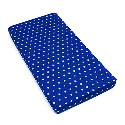 Amilian Spannbettlaken Spannbetttuch für Babybett Kinderbett 60x120 cm, 70x140 cm, 100% Baumwolle, fürs Baby, Baby Bettwäsche Größe: 140x70 cm, Muster: Sternchen Blau