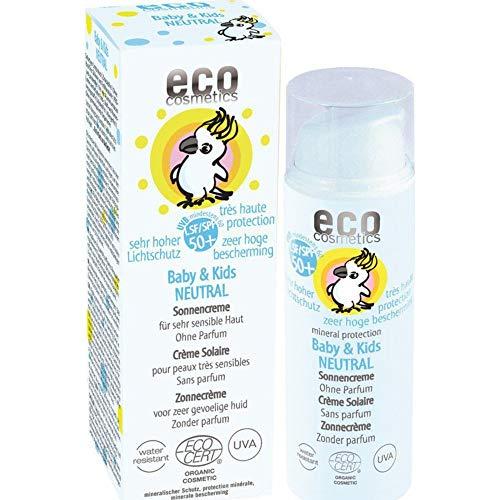 eco cosmetics Baby Sonnencreme LSF50+ neutral, wasserfest, vegan, ohne Mikroplastik, Naturkosmetik für Gesicht und Körper, 2 x 50ml