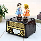 AOJIAOGUI Couple Kiss Music Box Birthday Gift Party Supply Music Box Radio Shape Antique Carved Musical Box Kids Gift Music Boxes