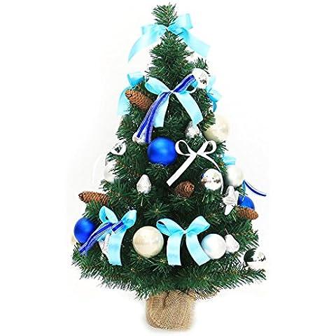 MOREY Tabella Desktop 50 centimetri albero di Natale Decorazione di Natale Decorazione natalizia Albero Deluxe Pacchetto Argento Blu ( dimensioni : 90 centimetri )