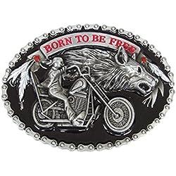 Hebilla, Bucle placa de cinturón estilo cadena motivo motero moto con cabeza de antifaz.