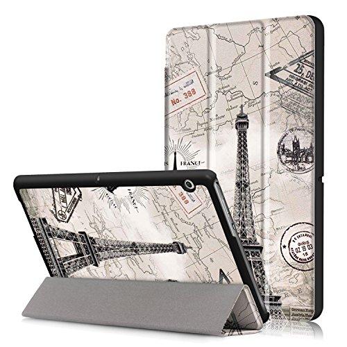 Xuanbeier Huawei MediaPad T3 10 Hülle Case-Ultra Dünn & Leicht PU Leder Schutzhülle Cover für Huawei MediaPad T3 10(9,6 Zoll)(Turm Karte)