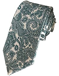 TED BAKER London Mens 100% Woven Silk Neck Tie Necktie Green Teal White Paisley