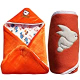 MY NEWBORN Baby Blanket Cum Baby Wrapper With Hood Cap -Multipurpose Sleeping Bag With Cute 5 Pcs. Assorted Color Newborn Socks FREE