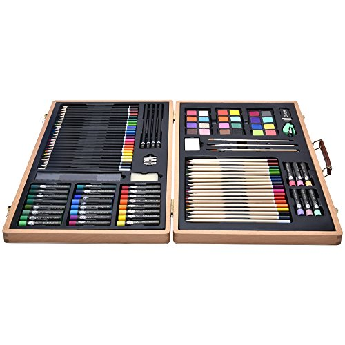 Artina Art Kit Genova 89 pcs. Artist Studio Quality Wooden Case Pinewood Box incl. All Media & Accessories for Artists