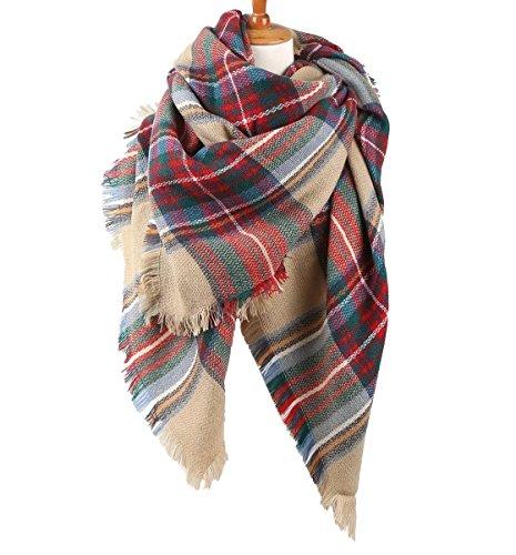 Abrigo de la bufanda del mantón de la tela escocesa de Cozy Chequeado Mujeres Señora Manta Tartán de gran tamaño (Blanco crema y