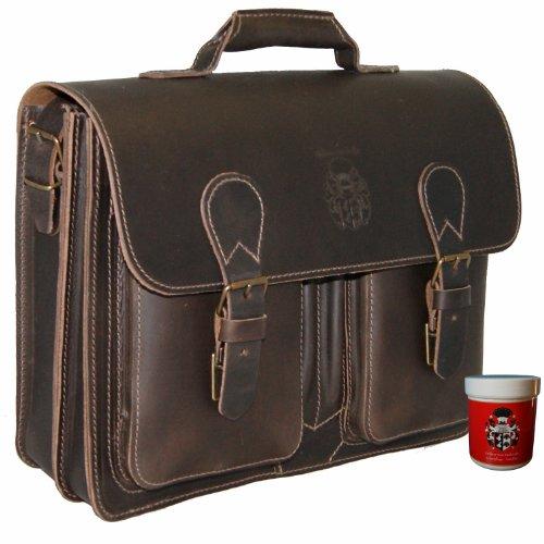 BARON de MALTZAHN - Serviette MICHELANGELO en cuir marron compris les soins en cuir