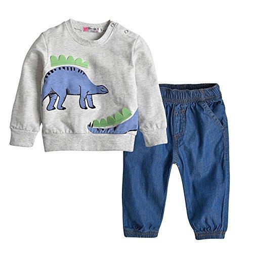 QTONGZHUANG Kinder Anzug Junge langärmeligen Rundhals Dinosaurier Bestickt T-Shirt Jeans Anzug männlichen Schatz Zweiteilige Anzug, 100cm
