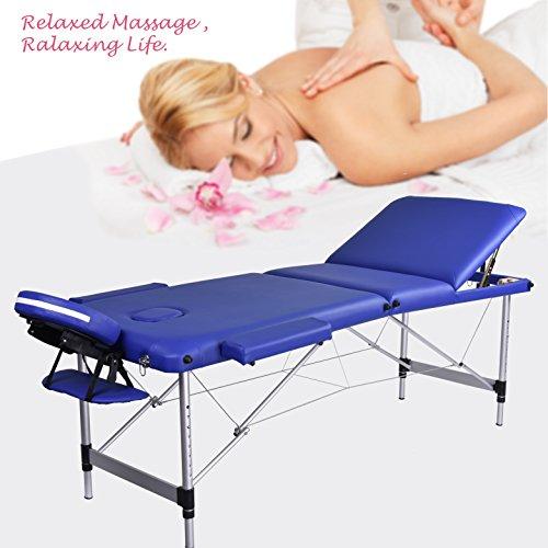 Wellhome tavolo da massaggio portatile lightweight sezione 3 sostituibile spaziometro staccabile alluminio (blu)