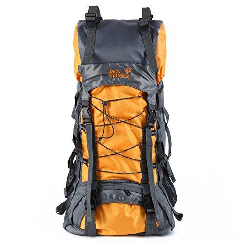 Zaini da trekking HWJDK, Outdoor 60L Borsa da montagna impermeabile Escursioni zaino da campeggio dello zaino , black Yellow