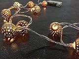 Home&Style Lichterkette 10 LED's mit Metallkugeln 2,5 cm, Länge 1,3 m, 30 cm Zuleitungskabel 2x AA Batterien nicht inklusiv in Acetatbox, warmweiß 030031