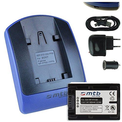Batteria + Caricabatteria (USB/Auto/Corrente) per Sony NP-FV100 / DEV-30, 50V.. / HDR-CX740, CX900../PJ410 PJ620.. / FDR-AX33.. / NEX-VG.. v. lista!