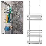 Top Home Solutions Grande portaoggetti cromato a 3 comparti da appendere alla porta della doccia bagno organizer rack