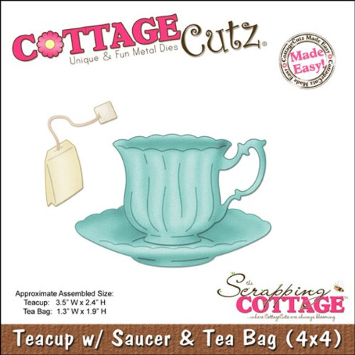 Cottage Cutz 4-Zoll Teetasse, Untertasse und Tee Bag Sterben Schnitte mit Foam - Cottage Cutz