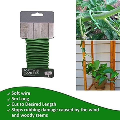 Suave Twist Ties- para formación plantas suave acolchado PVC covering-enables permanente no hacer daño a escaladores, arbustos, tomate jaulas–jardineros esencial suministro