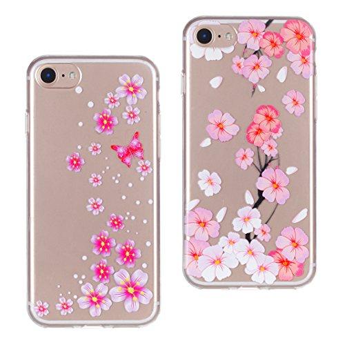 iPhone 7S Hülle, Asnlove 2 Stücks Transparent TPU Silikon Schutz Handy Hülle Case Tasche Etui Bumper Buntes Muster für Apple iPhone 7 7S Case Cover - Daisy, Pfirsich Rosa Color-9