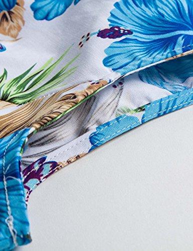 iPretty elegant Damen Sommerkleid ärmellos mit Gürtel Faltenrockkleid Retro Vintage Floral Party Cocktailkleider Abendkleider Knielang Hell Blau