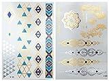 Gold Metallic Flash Tattoos, Armbänder Kettchen silber blau Modeschmuck, 15 Hauttattoos auf 2 Bögen!