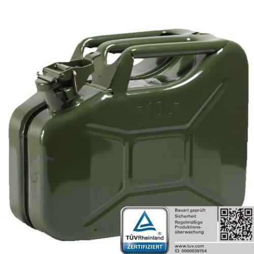 Oxid7® Benzinkanister Kraftstoffkanister Metall 10 Liter Olivgrün mit UN-Zulassung - TÜV Rheinland Zertifiziert - Bauart geprüft - für Benzin und Diesel