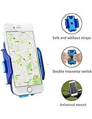 Soporte móvil de gran calidad para bicicleta QualiToy ajustable para cualquier móvil, Smartphone y GPS Dispositivo - Rotación de 360 Grados, anti vibración y antideslizante – fijación segura y perfecta para navegación en bici