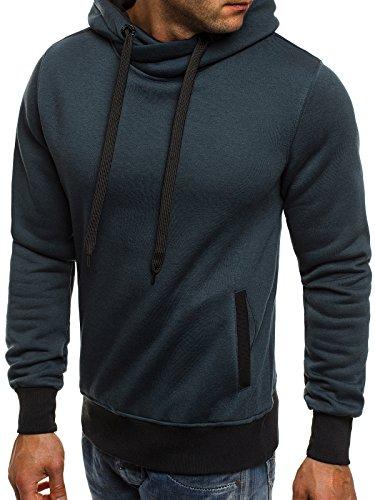 ozonee Felpa con cappuccio da uomo felpa pullover J. STYLE 2071-10 Blu scuro