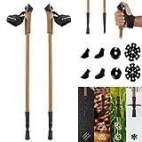 Bâtons de marche nordique Premium - Haute Qualité Bois Design - ultra-léger - Walking Sticks