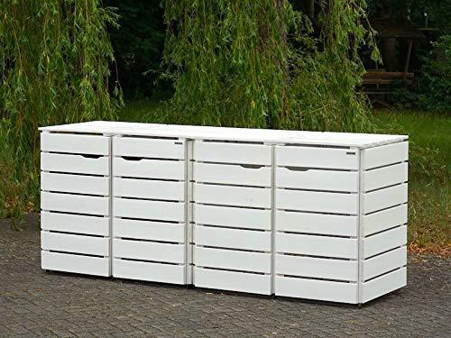 4er Mülltonnenbox / Mülltonnenverkleidung 240 L Holz, Deckend Geölt Weiß - 3